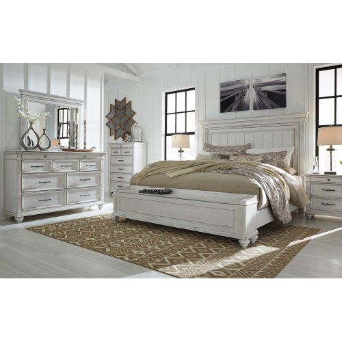 Kanwyn Whitewash 3 Piece Bed Set Cal King Ashley Furniture Bedroom King Bedroom Furniture Ashley Furniture