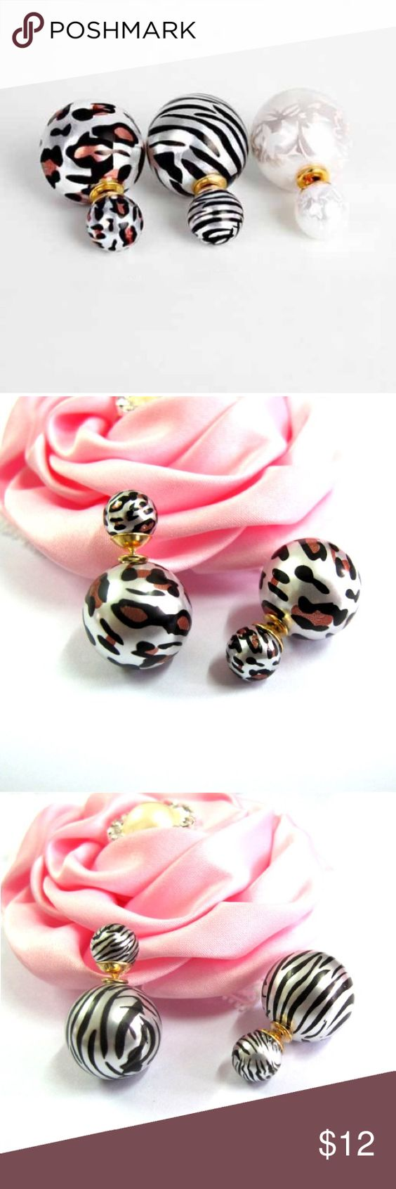 Double Ball Simulated Pearl Stud Earrings These stylish double ball earrings are the perfectly chic accessory to add to your look. Great accessory and a unique gift.                                                            Printed: Leopard, Zebra Stripe, Printing.                       Add to Cart  Ushoptwo Jewelry Earrings