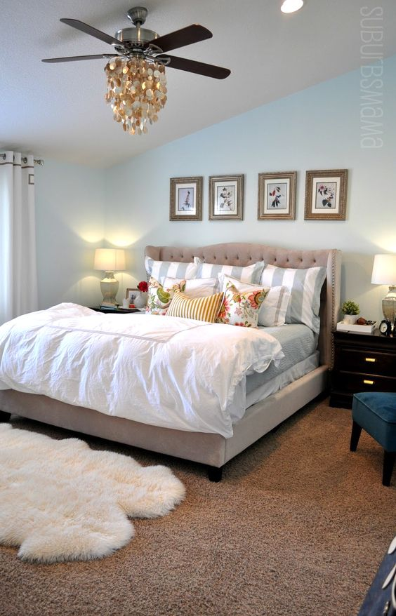 6th Street Design School | Kirsten Krason Interiors : Feature Friday: Suburbs Mama / Master Bedroom  (pinned with permission from blogger): Masterbedroom, Wall Color, Carpet Color, Bed Frame, Bedroom Makeover, Master Bedroom