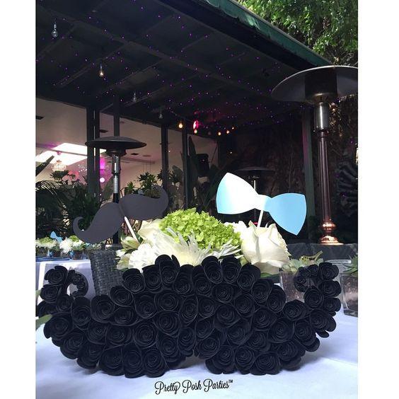 Can't get enough of our mustache party! How cute are our flower toppers? #mustache #mustachetheme #boythemes #littleman #littlemantheme #babyboy #babyshower #surrestaurant #roses #flowers #centerpieces #bows #bowtietheme #bowties #blackandwhite #events #laevents #eventplanner