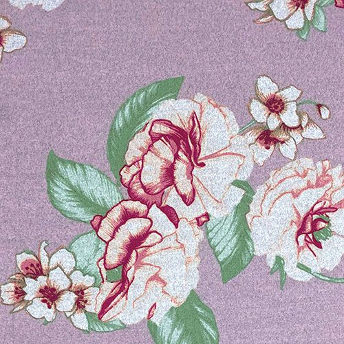 Big Pink Red Floral On Heather Gray Lavender Hacci Sweater Knit Fabric In 2020 Red Floral Purple Backgrounds Floral