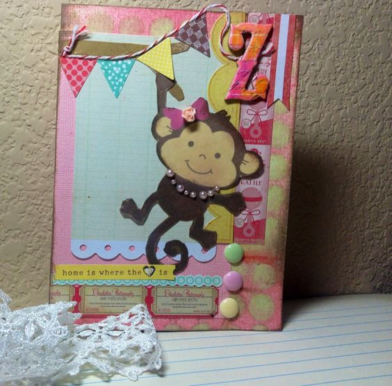 Handmade card: adorable baby monkey (http://cr8ivehaven.blogspot.com/2013/04/handmade-card-thank-you-tasha.html)