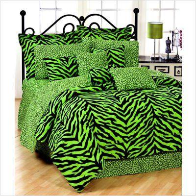 Amazon.com: Black & Lime Green Zebra Print Bed In A Bag Set: Home & Kitchen