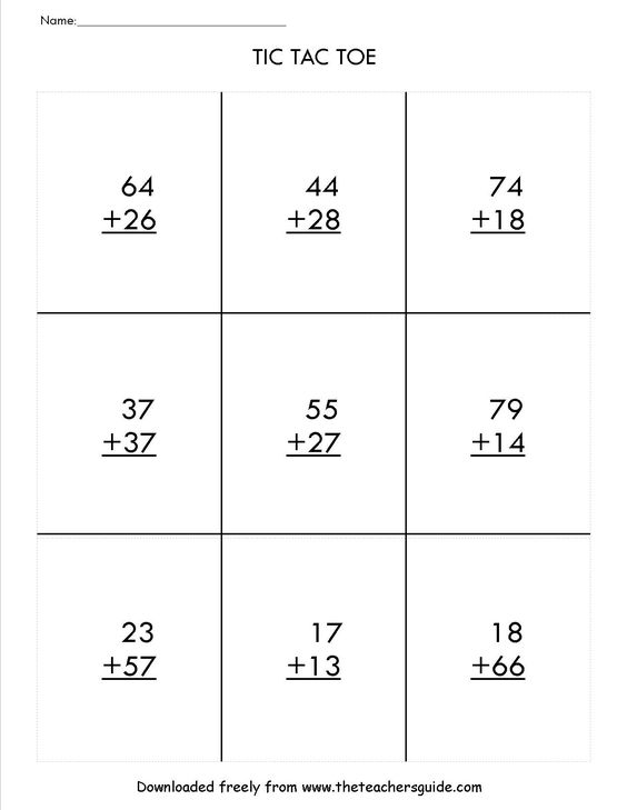 two digit addition with regrouping tic tac toe game – Tic Tac Toe Math Worksheets