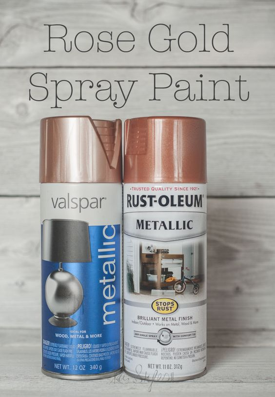 Lets talk rose gold spray paint colors! Valspar has a new rose gold color out. Rustoleum also has a copper metallic color that is really more a rose gold s: