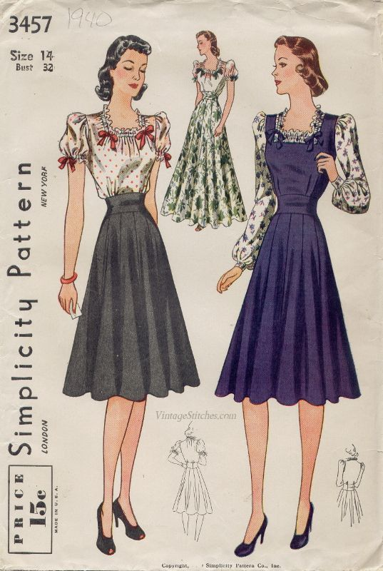 Simplicity 3457 Date: 1940  VintageStitches.com women&39s dress ...