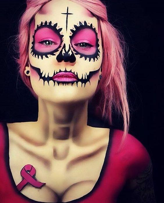 Aqui vai outra inspiração pra arrasar no Halloween!  Caveira Mexicana Rosa  #horadosalao #cancerdemama #outubrorosa #repost @lola_von_esche: