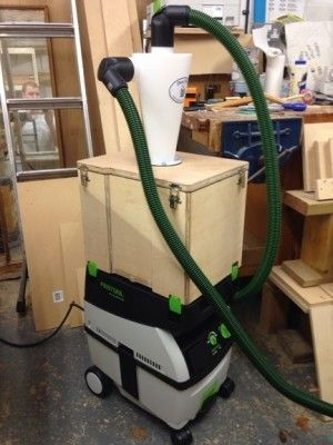 Festool CTL Midi with a cyclonic dust separator and shop made air-tight drop box.