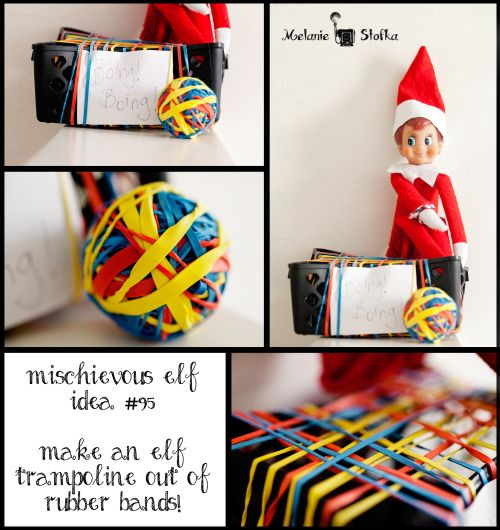 Elf sized trampoline fun!  95 Elf on the Shelf ideas and counting!