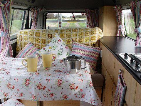 pretty yellow camper van...