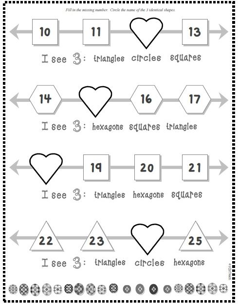 Valentine's Day Math: Number Line Missing Numbers (1-100) + Shapes ...