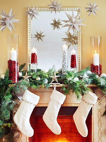 Vases filled with cranberries.: Decorating Idea,  Eating Place,  Eating House, Christmas Decoration, Mantle Idea, Christmas Idea