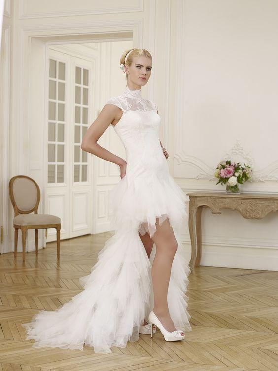 Robe de mariée BALLERINE courte devant avec une longue traine blanche ou  ivoire Robes de mariées Robes de mariée à Marseille , Nathalie Elbaz,Cleuet