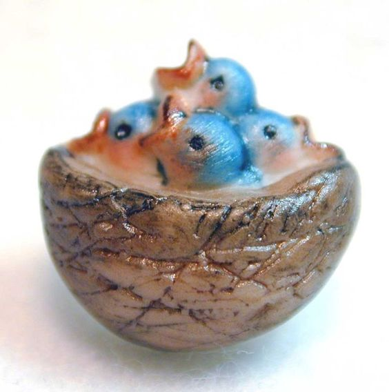 Handcrafted Porcelain Button Blue Birds in Nest