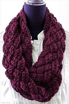 Плетёный шарф-снуд крючком. / Рукоделие: