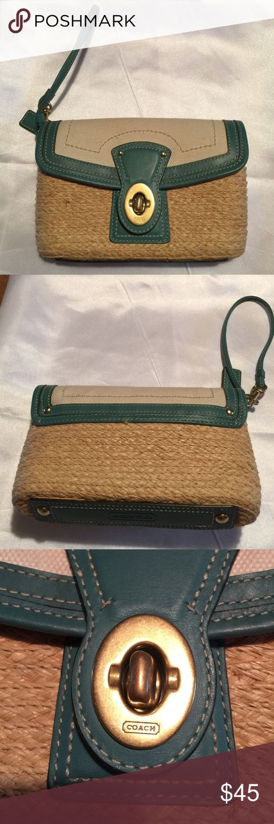 Coach Legacy Banana Straw Turnlock Flap Woven banana straw, with teal leather trim, and coach hang tag. Eight inches long, five inches tall and two inches wide. Used - excellent condition inside and out. Coach Bags Clutches & Wristlets