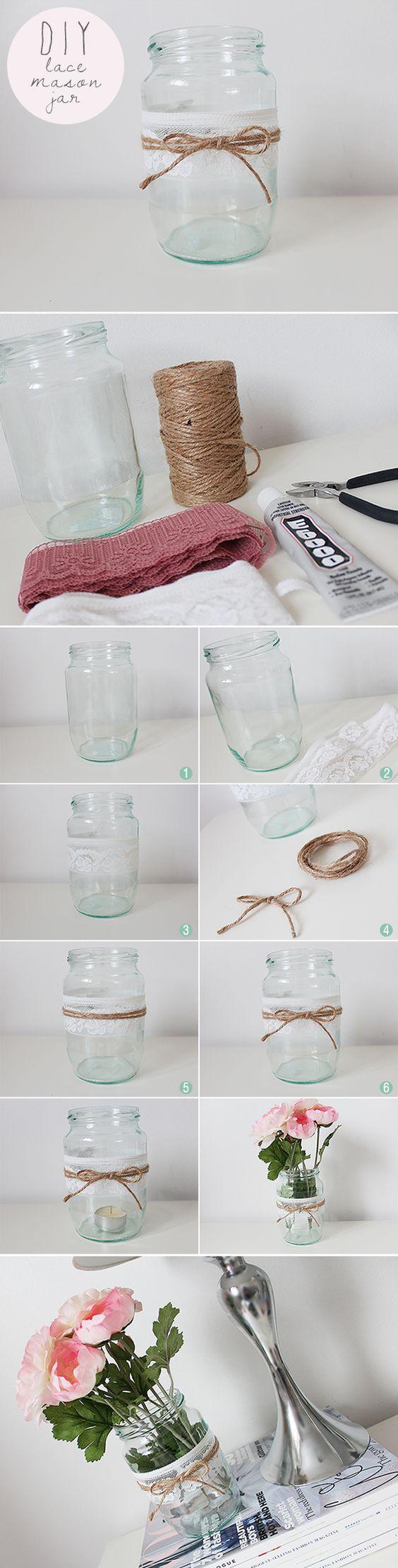 DIY Lace Mason Jar - Nouvelle Daily