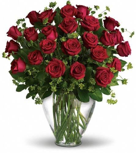 Gran jarrón con rosas rojas