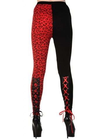 LADIES TIGHTS | Leopard Laces [Black/Red] // Would be so good under a black tutu for a Harley Quinn costume!!