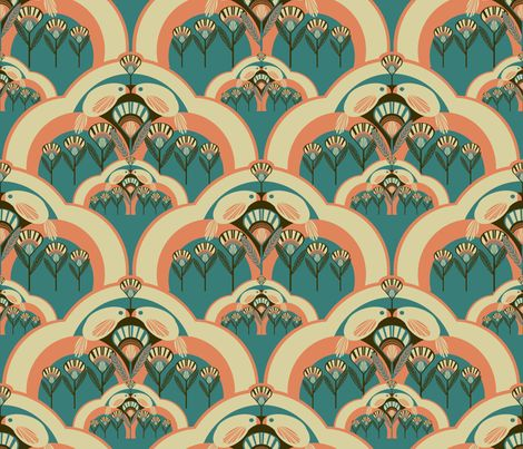 Deco spoonflower and art deco on pinterest for Art deco style fabric