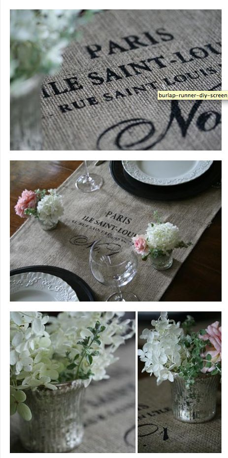 DIY silk screen burlap table cloth  http://www.i-do-it-yourself.com/2009/10/french-vintage-goodies-4-diy-table-runners/