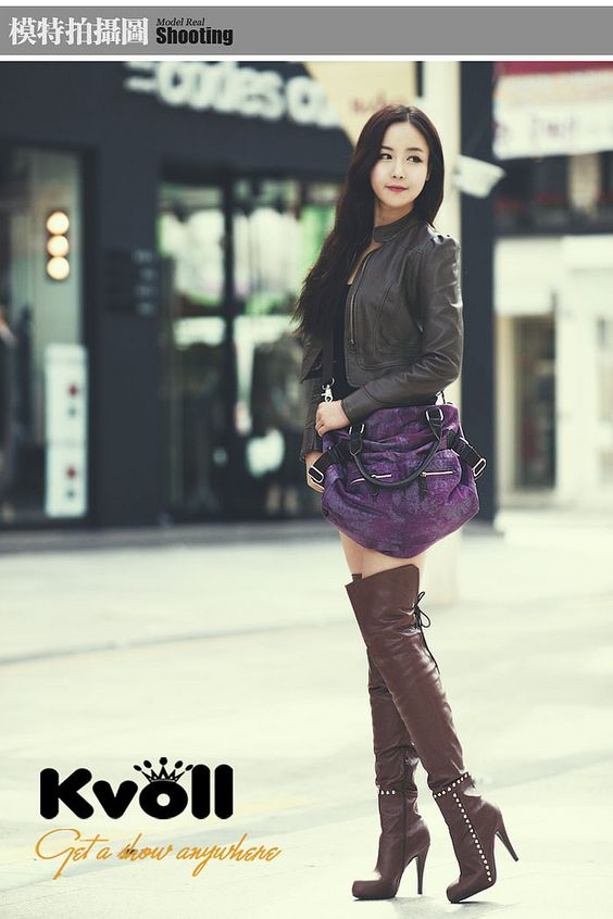 amazing fashion thigh high boots asian model the