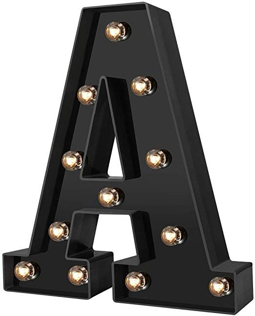 Newly Design Led Letters Numbers Lights 26 Alphabet /& Arabic Numerals 0-9 Black Decorative Marquee Lamps for Events Wedding Party Birthday Home Bar Cool Black B