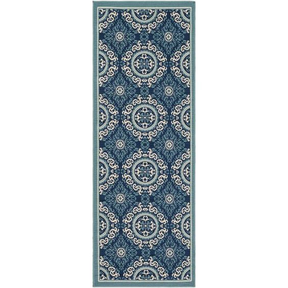 "Surya Marina 2'7"" x 7'3"" Runner Rug in Blue"