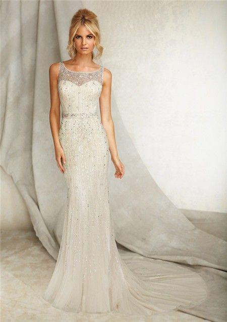 Illusion Wedding Dress Wedding dress with belt