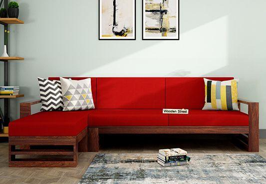 Ryker L Shape Left Arm Wooden Sofa Dusky Rose Sofa Set Online Corner Sofa Set Sofa Set