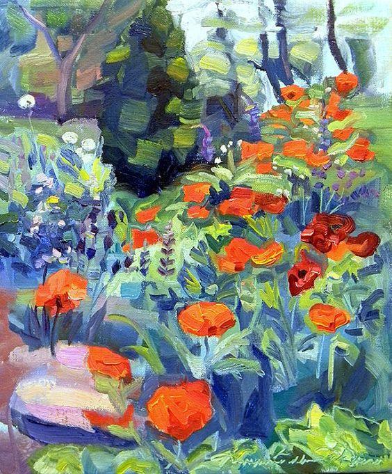 Chanticleer Poppies Path of Life Garden  by MoniqueKenSarkessian, $795.00