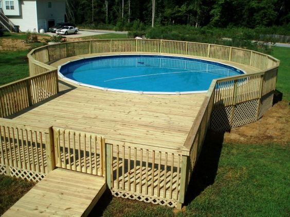 Wood decks above ground pool and ground pools on pinterest for Above ground pool decks and fencing