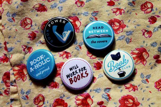 Source: sofiasbooks. #buttons #book nerd