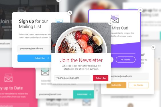 8 Colorful PSD Email List Popup Bundle