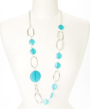 Loving this Aqua & Silver Disc Necklace on #zulily! #zulilyfinds