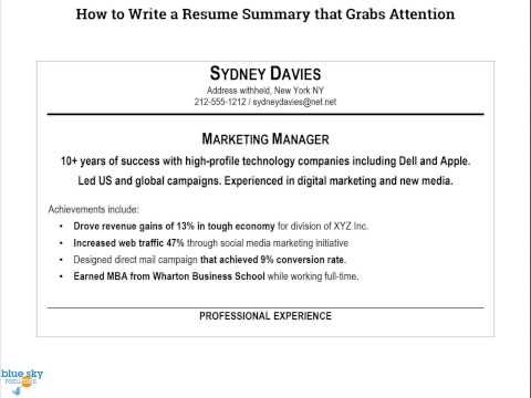 Recruiters Only Look at Your Resume for an Average of Six Seconds - how to write a resume summary