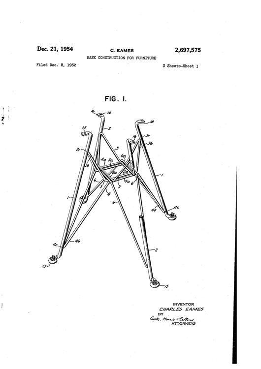 C.イームズ サイドシェルチェア脚部 特許 US2697575 ◆ - 巨匠建築家・デザイナーのチザイ