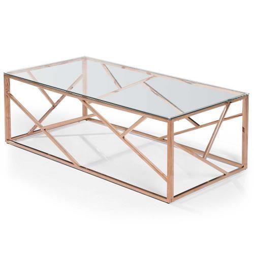 Table Basse Rectangulaire Or Rose Verre Transparent Tamba Plus De Details En 2020 Table Basse Table Basse Verre Table Basse Rectangulaire