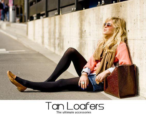 jean mini. black tights. tan loafers.