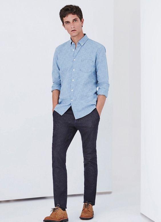 Camisa Chambray azul