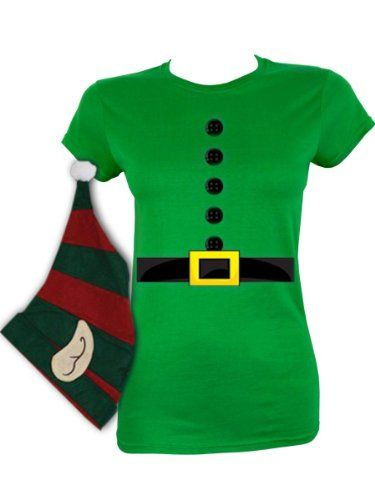 Elf Costume T Shirt With Hat Christmas Ladies Amazon Co