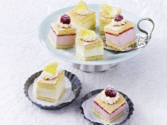 Rezepte für Petit Fours: Zitronen-Himbeer-Häppchen