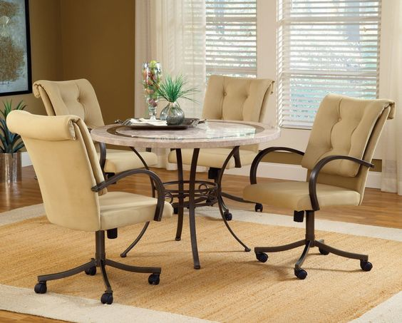 removing dining room chairs with casters to make stable http www: dining table with wheels