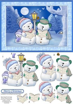 MERRY SNOWMEN Christmas card Topper Decoupage on Craftsuprint designed by Janet Briggs - Christmas card topper for A5 card, with 3d step by step decoupage.Features cute snowmen, carol singing.Sentiment tag reads, Merry Christmas.A coordinating insert is available. See multilink below. - Now available for download!
