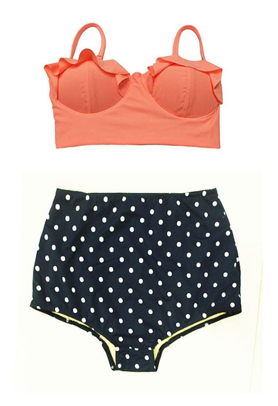 Old Rose Midkini Pad Top and Navy Blue Polka dot Highwaisted High Waisted Waist High-Waist Bikini Swimsuit Swimwear Bathing suit suits S M