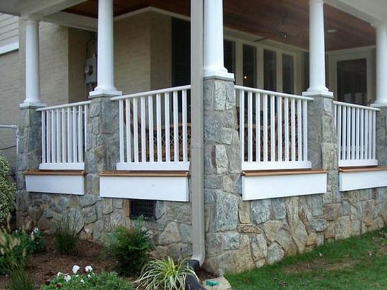 Adding Railing To Front Porch Stone Columns Google