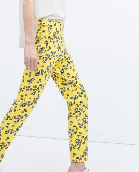 ZARA - PRINTED TROUSERS WITH SNAP CLOSURE