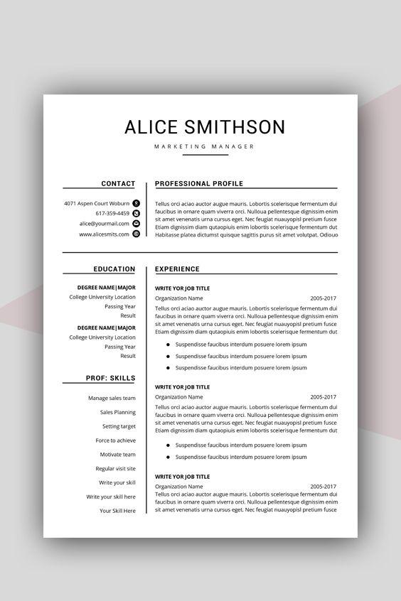 Resume Template Word Professional Resume Template Word Etsy Resume Template Professional Resume Template Resume Template Word