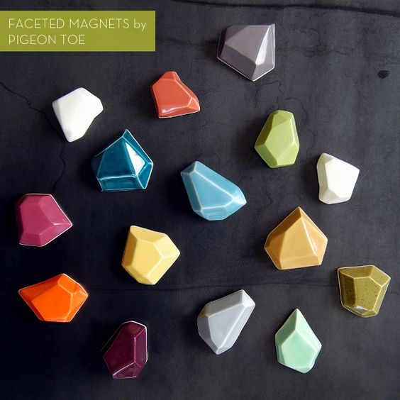 So excited about @Pigeon Toe's newest collection: colorful faceted magnets!: Ceramic Magnets, Faceted Ceramic, Rock Magnet, Pigeon When, Gem Magnets, Facet Magnets, Faceted Magnets, Polymer Clay, Toe Ceramics