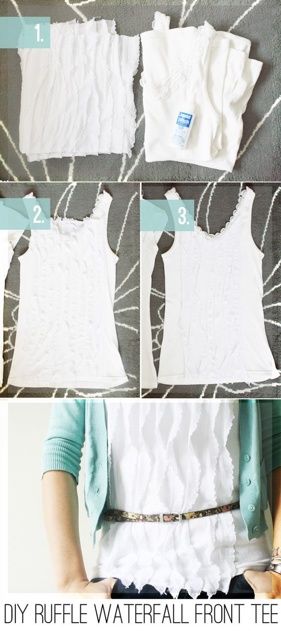 DIY: RUFFLE WATERFALL TEE: